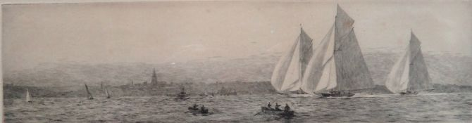 Rowland Langmaid (British, 1897-1956), Ryde, etching, signed and inscribed, 9cm x 32cm.