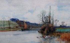 Henry Charles Fox (British, 1855 - 1929), River Scene, watercolour and bodycolour,