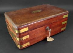 A Victorian campaign style brass bound mahogany box, with sunk side carrying handles,