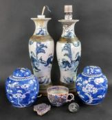 A pair of Chinese crackleglaze blue and white vases, painted with figures scenes, 30cm high,