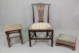 A George III mahogany dining chair, with
