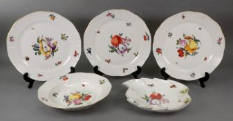 Three Herend porcelain plates, painted w