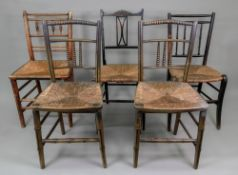 A pair of Regency painted and decorated salon chairs, with bobbin turnings,