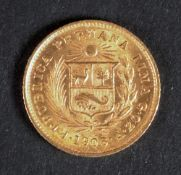 Republic of Peru gold 1/5 de Libra 1906.