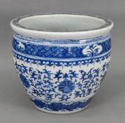 A Chinese blue and white jardniere,