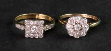 An 18ct gold and diamond set cluster rin