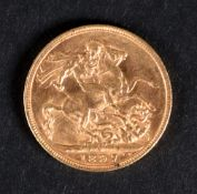 A Queen Victoria sovereign, 1897.