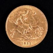 A George V half sovereign, 1911.