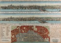 A engraved map showing a prospect of the city of London from St.