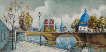 European School, 20th Century, Parisian Scene, indistinctly signed, oil on canvas, 39 x 79cm.