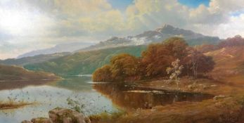 Andrew Grant Kurtis (British, 20th Century), Men fishing on a lake with mountains beyond, signed,