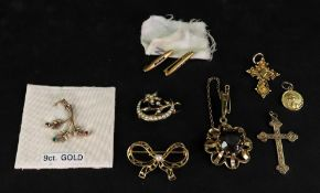 A collection of gold, gilt metal and gem