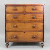 A Victorian mahogany chest, fitted with two short and three long drawers,