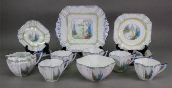 A Shelley twenty piece part tea service, Queen Anne shape, 'My Garden' pattern no. 11607 (20).