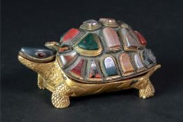 A gilt metal novelty necessaire, probably Italian, 19th century, in the form of a tortoise,