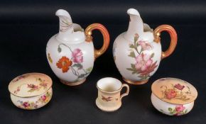 A pair of Royal Worcester flat back jugs