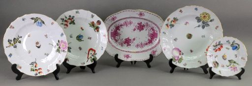 Four Herend porcelain plates, painted wi
