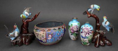 A pair of Japanese cloisonne vases, 9cm