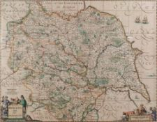 An engraved map of Yorkshire by G Valk and P Schenk, 38 x 48cm,