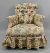 A Victorian button down upholstered armc