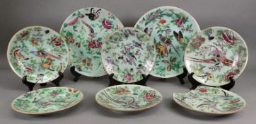 A set of eight Canton plates, late 19th century, painted with birds,