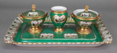 A Nast A Paris porcelain standish, 19th century,