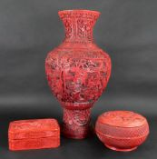 A Chinese cinnabar lacquer baluster vase, 20th century,