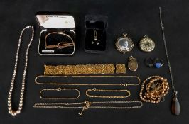 A collection of gilt metal and costume j