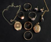 A collection of gold and gem set jewelle