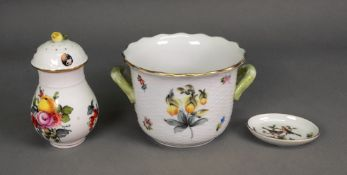 A Herend porcelain two-handled cache pot