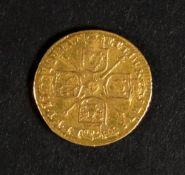 A George I gold quarter guinea, 1718.