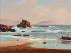 Peter Cosslett (British, b. 1927), Waves breaking on the shore, signed, oil on canvas, 29 x 39cm.