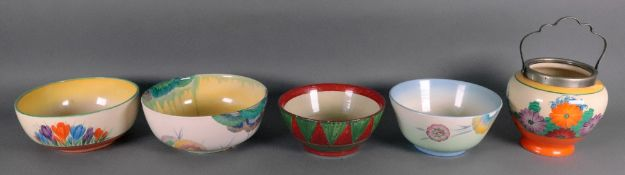 A Clarice Cliff bowl painted with the Viscaria pattern, 21cm diameter,