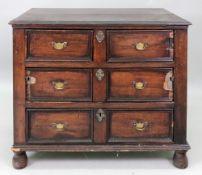 A late 17th century oak chest, distresse