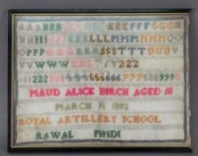 A needlework sampler, worked with alphab