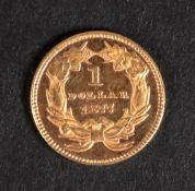 United States of America gold 1 dollar,