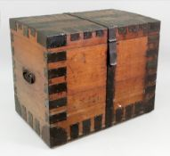 A Victorian metal bound oak plate chest,