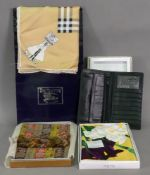 A Burberry pure silk scarf, in card sleeve, two Japanese silk scarves,