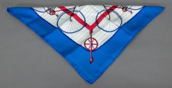 "Hermes scarf ""Les Becans"", 90 x 90cm (1974)."