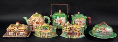 A Kensington The Huntsman teapot, simila