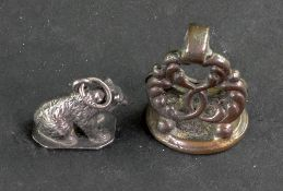 A Georgian gilt metal seal, of pierced f