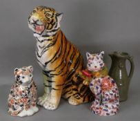 A large Italian ceramic figure of a tiger, 20th century, 60cm high, a studio pottery pitcher,