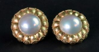 A pair of mabé pearl, 18ct gold earclips