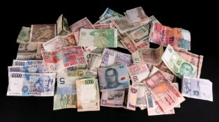 A large collection of world bank notes,