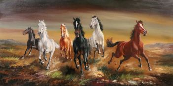 Hans Reidmann (1913-1991), Galloping Horses, signed 'H Reidmann' (lower left), oil on canvas,