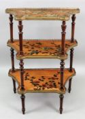 A French polychrome painted three tier e