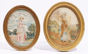 Two oval silkwork tapestries, 18th and 19th century, depicting ladies standing, framed and glazed,
