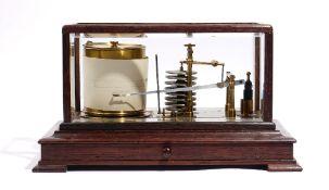 A 20th century oak cased barograph, unsigned,