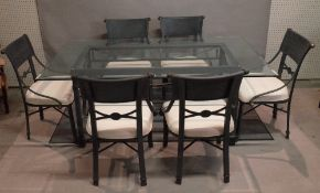 A modern metal and glass rectangular dining table by Kesterport,