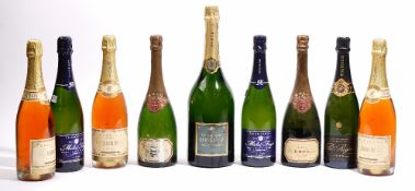Nine bottles of champagne, comprising; two Krug Grand Cuvee, three Irroy Rose,
